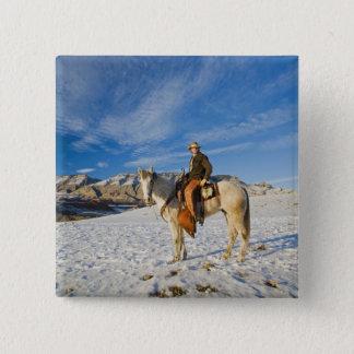 雪2の彼の馬のカウボーイ 5.1CM 正方形バッジ