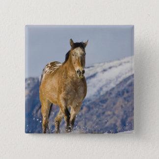 雪2の馬のランニング 5.1CM 正方形バッジ