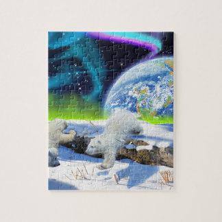 雪-アースデーの芸術で遊ぶ3白くまカブス ジグソーパズル