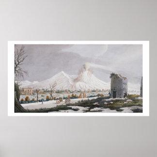 雪、「カンピPhlegraeiからのプレートVのVesuvius: O ポスター