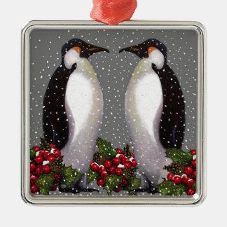 雪、ヒイラギのクリスマスのペンギン: 芸術 メタルオーナメント