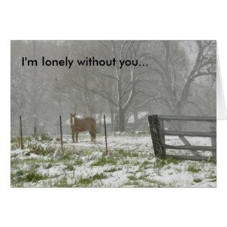 雪-メッセージカードの馬 カード