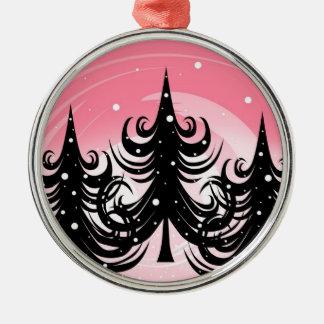雪 + 渦巻の木-ピンク + 黒いオーナメント メタルオーナメント
