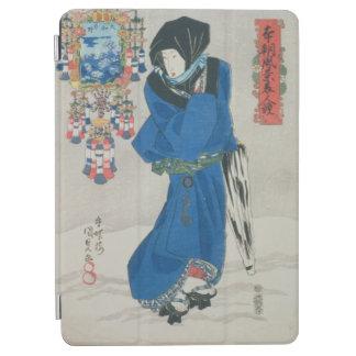 雪(色のwoodblockのプリントの日本のな女性 iPad air カバー