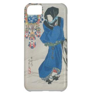 雪(色のwoodblockのプリントの日本のな女性 iPhone5Cケース