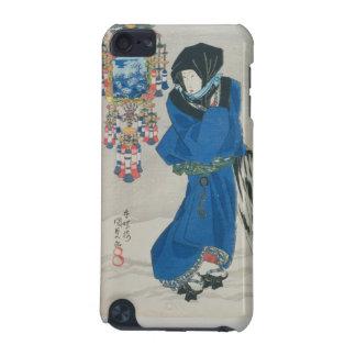 雪(色のwoodblockのプリントの日本のな女性 iPod touch 5G ケース