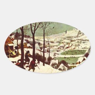 雪- 1565年のハンター 楕円形シール