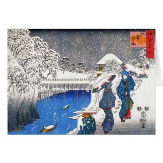 雪、Ando Hiroshigeで話している2人の女性 カード