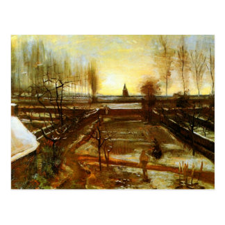 雪(F67)のゴッホのファインアートのParsonageの庭 ポストカード