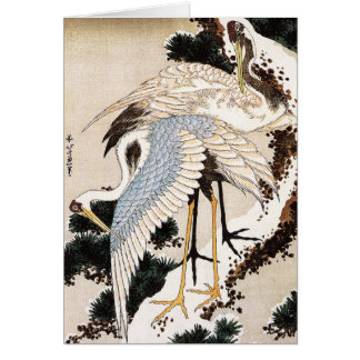 雪、Hiroshigeで覆われるマツの2つのクレーン カード