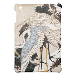 雪、Hiroshigeで覆われるマツの2つのクレーン iPad Miniカバー