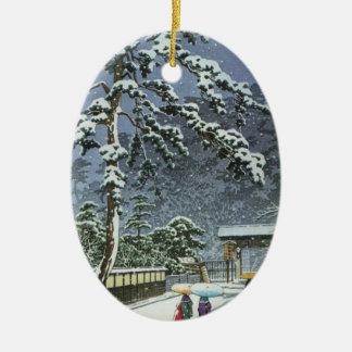 雪- Kawase Hasuiの川瀬巴水のHonmonjiの寺院 セラミックオーナメント