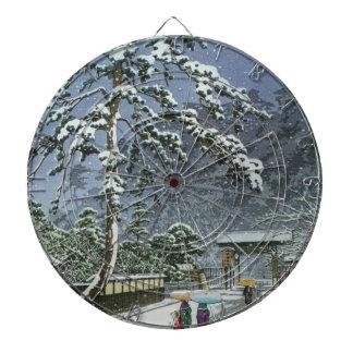 雪- Kawase Hasuiの川瀬巴水のHonmonjiの寺院 ダーツボード
