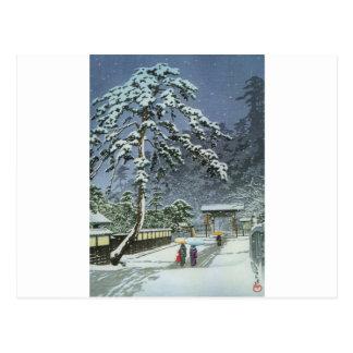 雪- Kawase Hasuiの川瀬巴水のHonmonjiの寺院 ポストカード