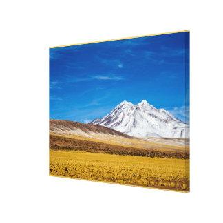 雪- Punaのおおわれた山および牧草地 キャンバスプリント