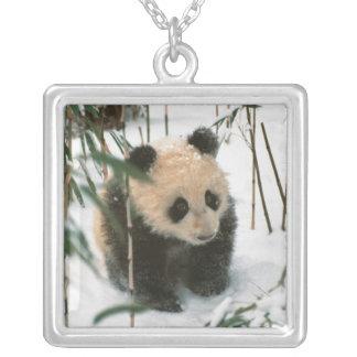 雪、Wolong、四川の中国2のパンダの幼いこども シルバープレートネックレス