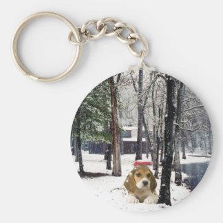 雪Keychainのビーグル犬 キーホルダー