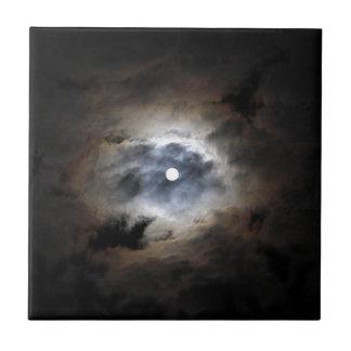 雲が付いている月 タイル