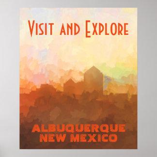 雲のアルバカーキニューメキシコのスカイライン ポスター