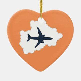 雲のジェット機 セラミックオーナメント