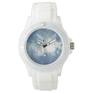 雲のテーマのスポーティで白いケイ素 腕時計