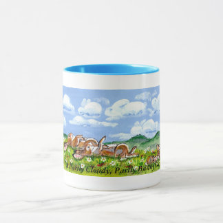 雲のマグを見ている楽しいバニーウサギ マグカップ
