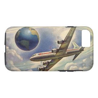雲の世界中のヴィンテージの飛行機の飛行 iPhone 8/7ケース