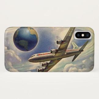 雲の世界中のヴィンテージの飛行機の飛行 iPhone X ケース