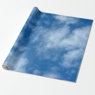 雲の包装紙が付いている青空 ラッピングペーパー
