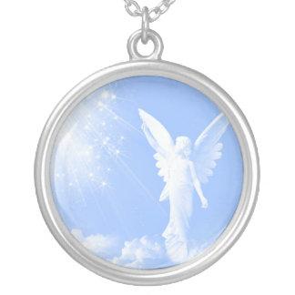 雲の天使 シルバープレートネックレス