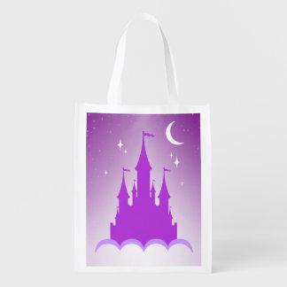 雲の星明かりの月の空の紫色の夢みるような城 エコバッグ