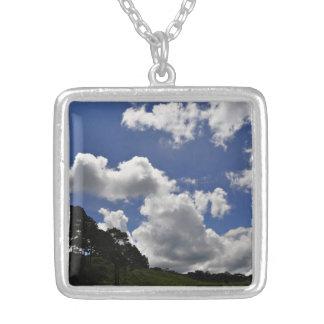 雲の空の景色の自然 シルバープレートネックレス