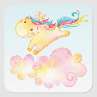 雲の菓子のステッカーとのパステル調の虹のユニコーン 正方形シール