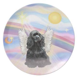 雲-黒いコッカースパニエルの天使 プレート