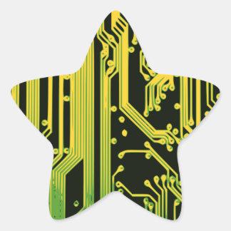電子回路のモチーフ 星シール