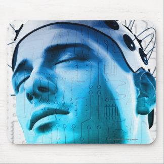 電極の帽子を身に着けている人のイラストレーション マウスパッド
