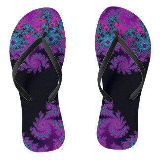電気すみれ色の紫色のフラクタルのビーチサンダル ビーチサンダル