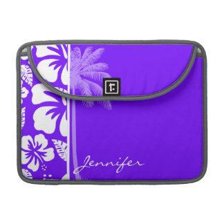 電気インディゴの熱帯ハイビスカス; やし MacBook PROスリーブ