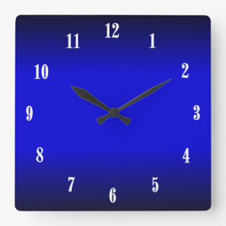 電気コバルトブルーの白は2柱時計に番号を付けます スクエア壁時計