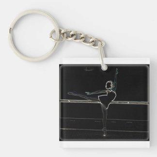 電気バレリーナ(2味方された正方形) キーホルダー