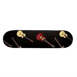 電気及びアコースティックギターのコラージュ スケートボード