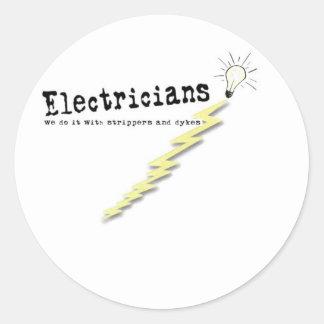 電気技師のユーモア ラウンドシール