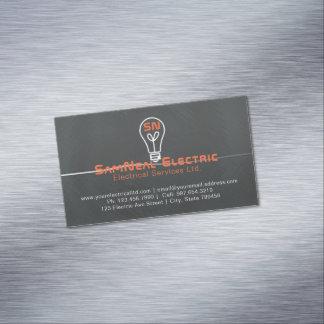 電気技師の電球のロゴの磁石の名刺 マグネット名刺