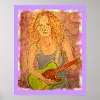 電気民俗石の女の子のplayin ポスター