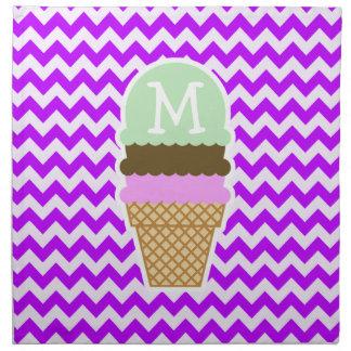 電気紫色のシェブロン; アイスクリームコーン ナプキンクロス