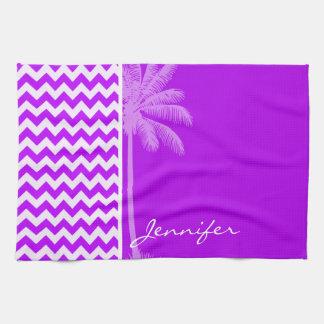 電気紫色のシェブロン; ジグザグ形; やし キッチンタオル