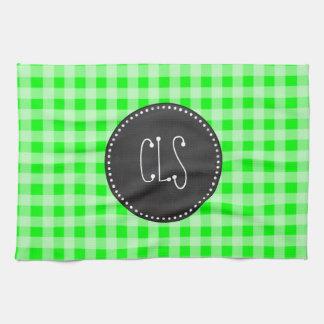 電気緑のギンガム; チェック模様 キッチンタオル