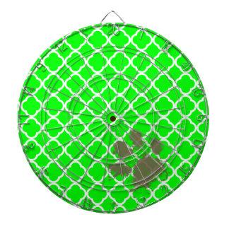 電気緑のQuatrefoilのおもしろいなPawprint ダーツボード