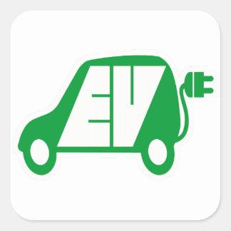 電気自動車EVアイコンロゴ- スクエアシール