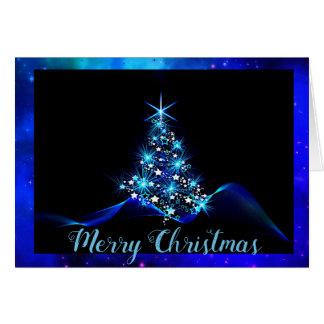 電気青いクリスマスカード カード